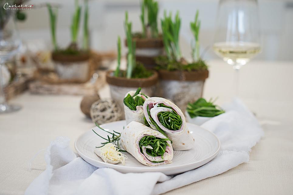 Schinken Wraps mit Spinat und Kren