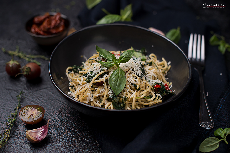 Spinat Spaghetti mit Pfiff