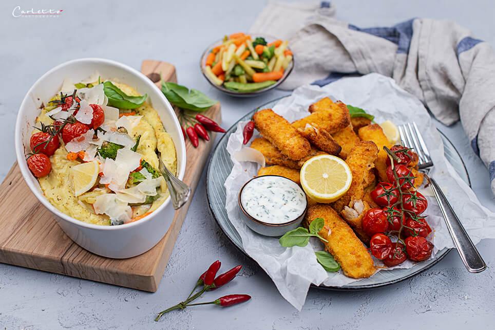 Fisch mit Kartoffelpüree Gratin